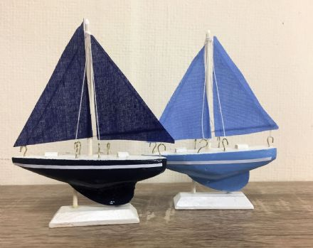 Set of 2 Small Blue Wooden & Fabric Sailboats